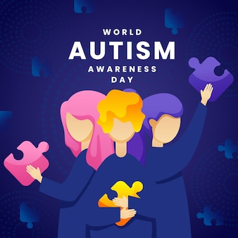 Gradient world autism awareness day illustration with puzzle pieces