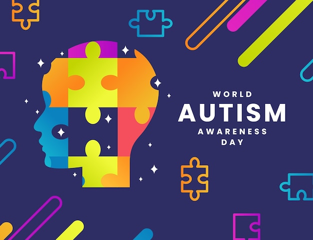 パズルのピースとグラデーション世界自閉症啓発デーのイラスト