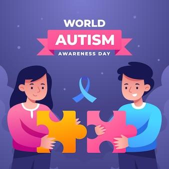 Градиентный всемирный день осведомленности об аутизме с кусочками головоломки