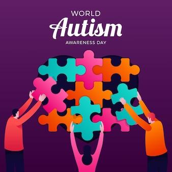 Иллюстрация всемирного дня осведомленности о градиенте аутизма