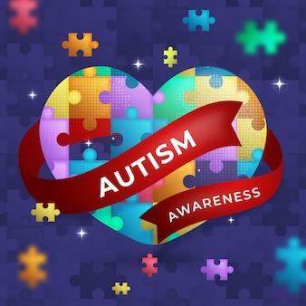 그라디언트 세계 자폐증 인식의 날 그림