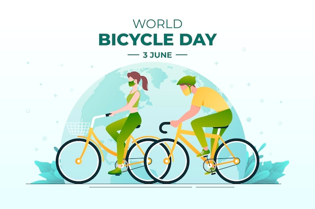 Gradient world bicycle day illustration