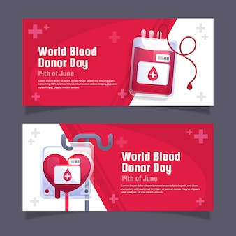 Gradient world blood donor day banners set