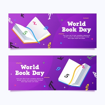 Gradient world book day banners set