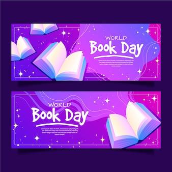 Баннеры всемирного дня книги с градиентом