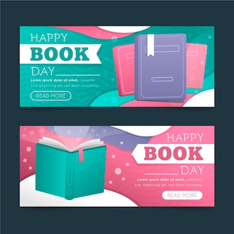 Gradient world book day horizontal banners collection