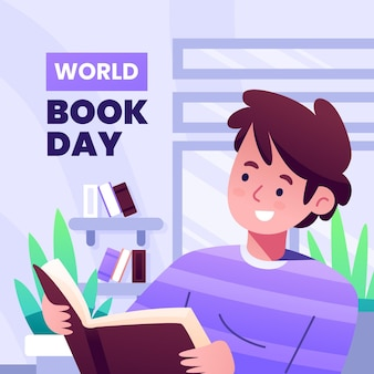 Gradient world book day illustration with man reading book