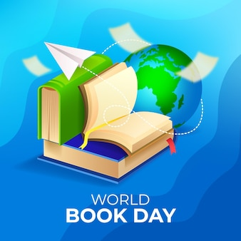 Gradient world book day illustration with planet