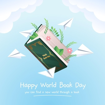 Gradient world book day illustration
