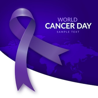 Gradient world cancer day background with ribbon