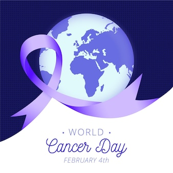 Gradient world cancer day in february ribbon