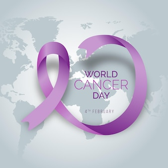 Gradient world cancer day ribbon