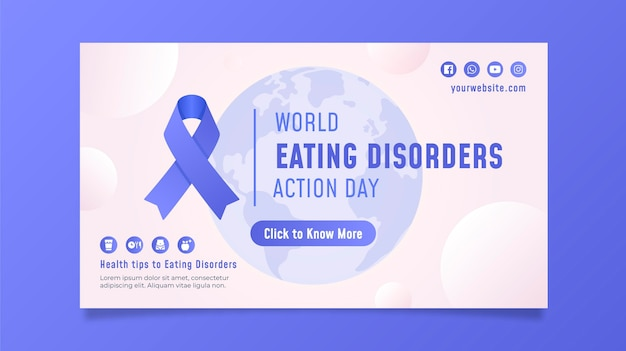 Gradient world eating disorders action day banner set
