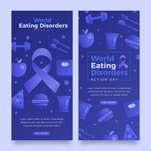 Gradient world eating disorders action day banners set