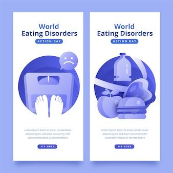 그라데이션 세계 섭식 장애 행동 일 배너 세트