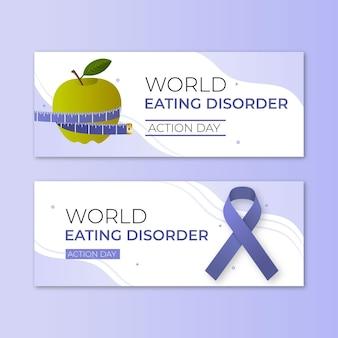 Набор баннеров дня действий градиентного мира расстройств пищевого поведения