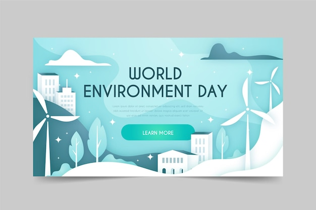 Gradient world environment day banner template