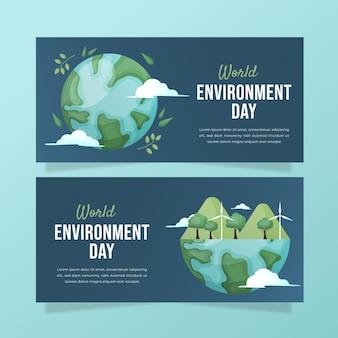 Modello di banner giornata mondiale dell'ambiente gradiente