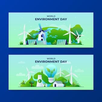 Set di banner di giornata mondiale dell'ambiente gradiente