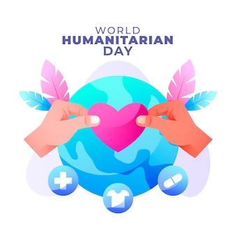 Illustrazione della giornata umanitaria mondiale sfumata Vettore gratuito