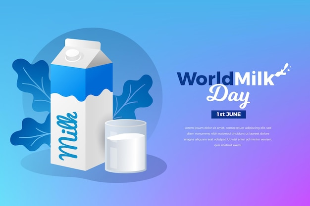 Иллюстрация всемирного дня молока с градиентом
