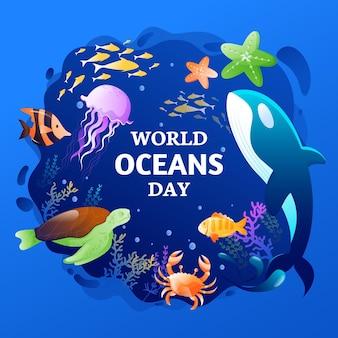 그라디언트 세계 바다의 날 그림