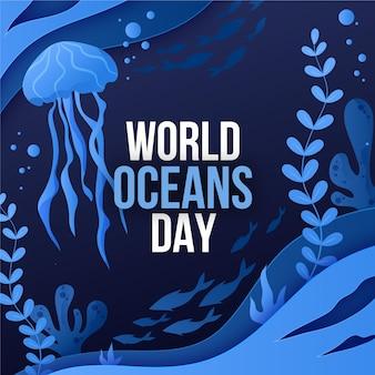 Illustrazione di giornata mondiale degli oceani gradiente