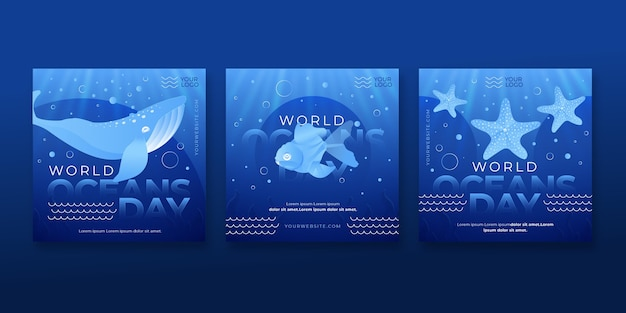 Gradient world oceans day instagram posts collection