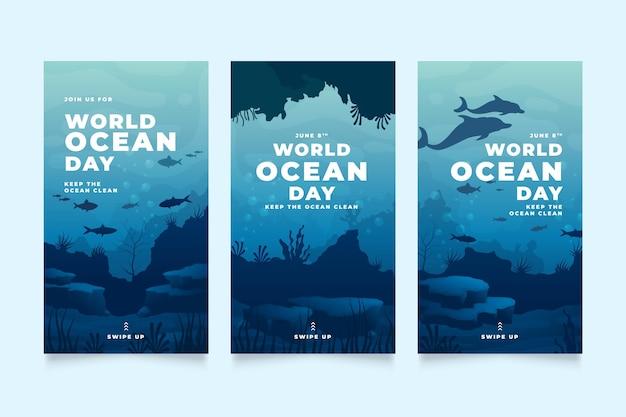 Коллекция историй instagram к всемирному дню океанов