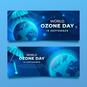 그라데이션 세계 오존의 날 가로 배너 세트