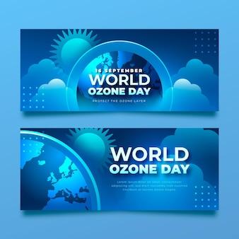 Набор горизонтальных баннеров градиентный всемирный день озона