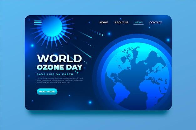 Modello di pagina di destinazione della giornata mondiale dell'ozono gradiente