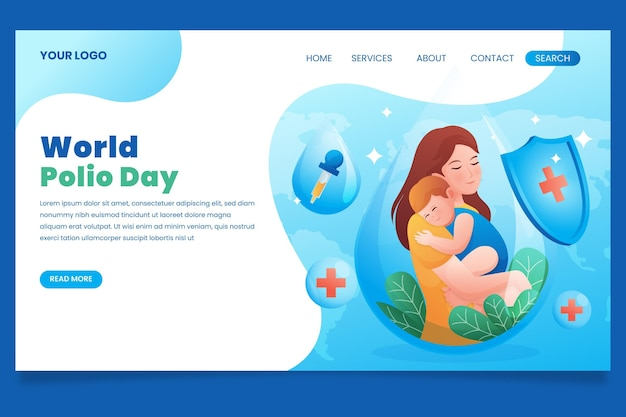 Gradient world polio day landing page template