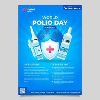 Gradient world polio day vertical flyer template