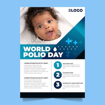 Gradient world polio day vertical poster template