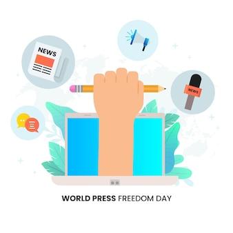 Illustrazione della giornata mondiale della libertà di stampa gradiente