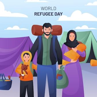 Illustrazione di giornata mondiale del rifugiato gradiente