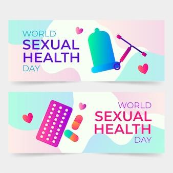그라데이션 세계 성 건강의 날 배너 세트