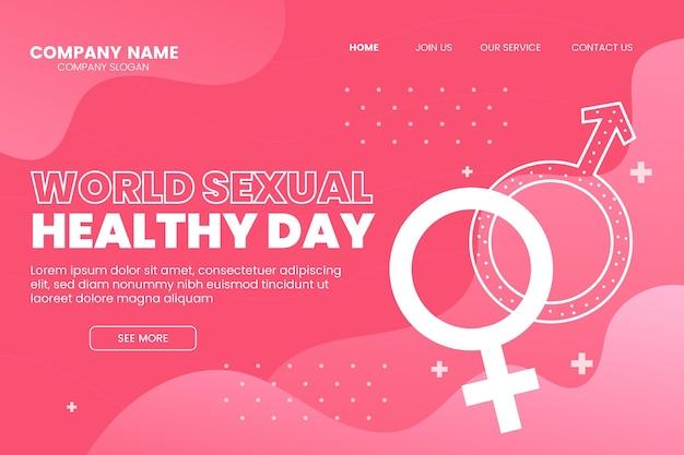 グラデーションの世界の性の健康の日のランディングページテンプレート