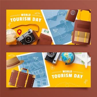 Набор градиентных баннеров всемирного дня туризма с фотографией