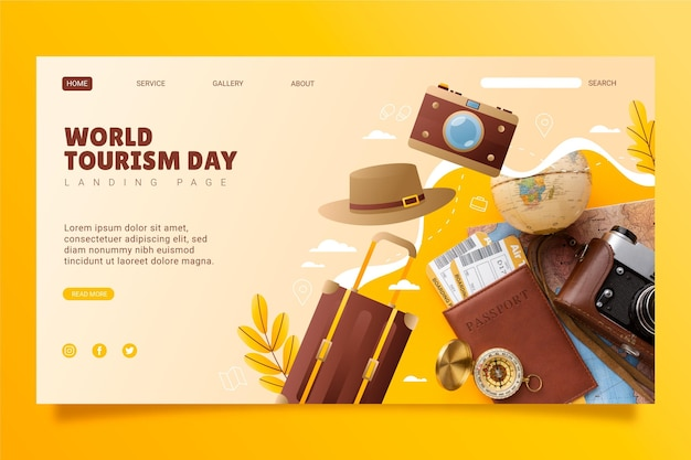 Gradient world tourism day landing page template with photo