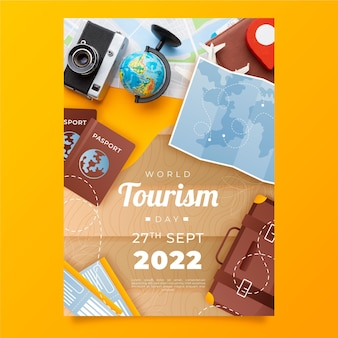 Gradient world tourism day vertical flyer template with photo