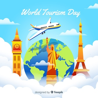 Gradient world tourism day with airplane