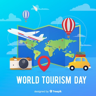 Gradient world tourist day map with transport