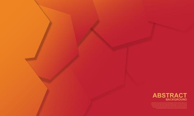 그라데이션 노란색과 빨간색 육각형 겹치는 배경. 추상 패턴 배경입니다. 벡터 일러스트 레이 션.