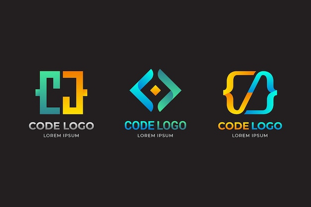 Gradient yellow and blue code logo template