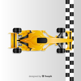 Gradient yellow f1 racing car crosses finish line