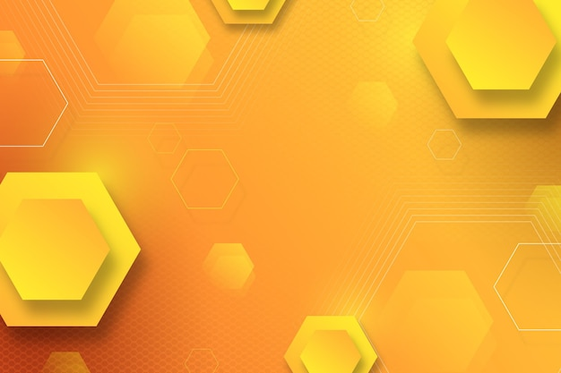 グラデーションの黄色の六角形の背景