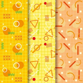 Gradient yellow memphis seamless pattern collection