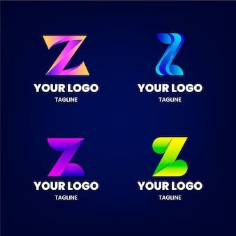 グラディエントz文字のロゴコレクション